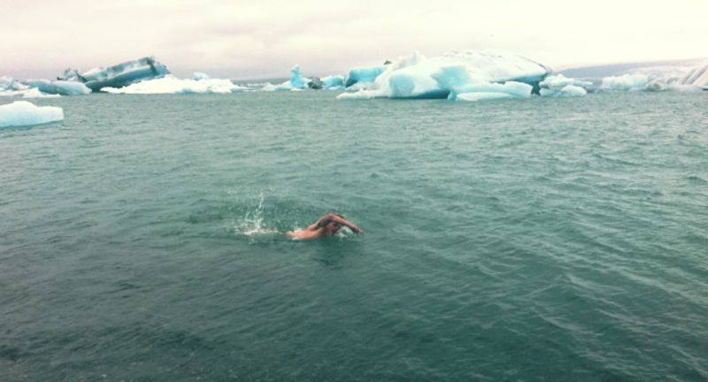 Swimming in Jokulsarlon